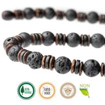 Seven Whales Stylish Hippy 18 Inch Adult Necklace with Coconut Wood Rondelle and Lava Beads