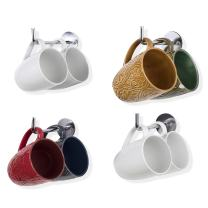 Wallnture Nera Tea Cup and Coffee Mug Rack, Wall Hooks for Kitchen Organization and Storage, 5.5 Inches Chrome Metal Set of 4