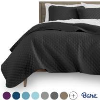 Bare Home Premium 3 Piece Coverlet Set - Full/Queen Size - Diamond Stitched - Ultra-Soft Luxurious Lightweight All Season Bedspread (Full/Queen, Charcoal)