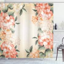 """Ambesonne Floral Shower Curtain, Blooming Hydrangea Flowers Leaves Bouquet Vintage Style Spring Nature Print, Cloth Fabric Bathroom Decor Set with Hooks, 84"""" Long Extra, Salmon Green"""