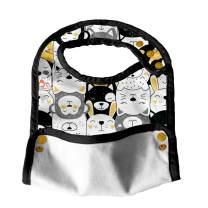 Lil Helper Biggie Bibs - Reversible, Adjustable, Easy Clean Feeding Bibs with Food Catcher (D - Overload)