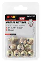 """Performance Tool W54258 1/4"""" NPT Straight Grease Fitting, 10 Pack"""
