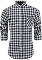 Emiqude Men's 100% Cotton Slim Fit Long Sleeve Button-Down Big Plaid Dress Shirt Small Black White
