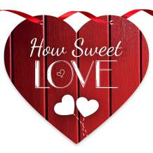 Soul Décor Valentine Decorations How Sweet Love Wood Look Red Background, Wooden Heart Shaped Door Sign with Red Satin Ribbon