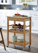 Boraam Aya Bamboo Kitchen Cart with Stainless Steel Top