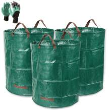 Hemeto 3 Pcs 72 Gallons Yard Waste Bags, Reusable Gardening Leaf Bags with Coated Gardening Gloves, Lawn Patio Garden Weed Bags, Leaf Collector Outdoor Storage Bin, Camping Trash Can with 4 handles