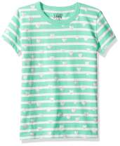Amazon/ J. Crew Brand- LOOK by crewcuts Girls' Short Sleeve Heart Stripe T-Shirt
