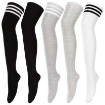 Womens Thigh High Socks Over the Knee High Striped Stocking Boot Leg Warmer Long Socks for Daily Wear Cosplay
