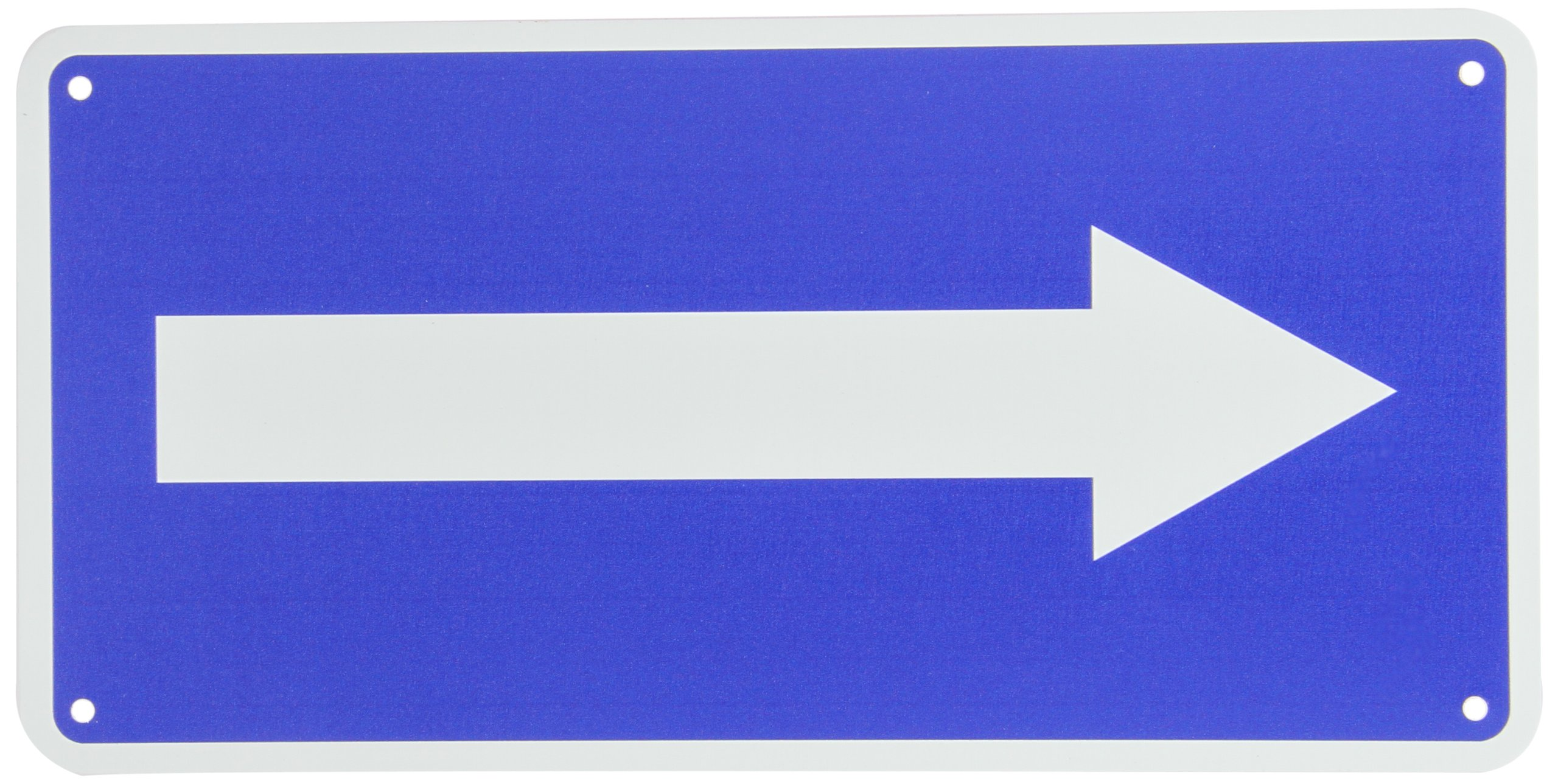"""NMC TMA5G Traffic Sign with Right Arrow Graphic, 6"""" Length x 12"""" Height, Aluminum 0.040, White on Blue"""
