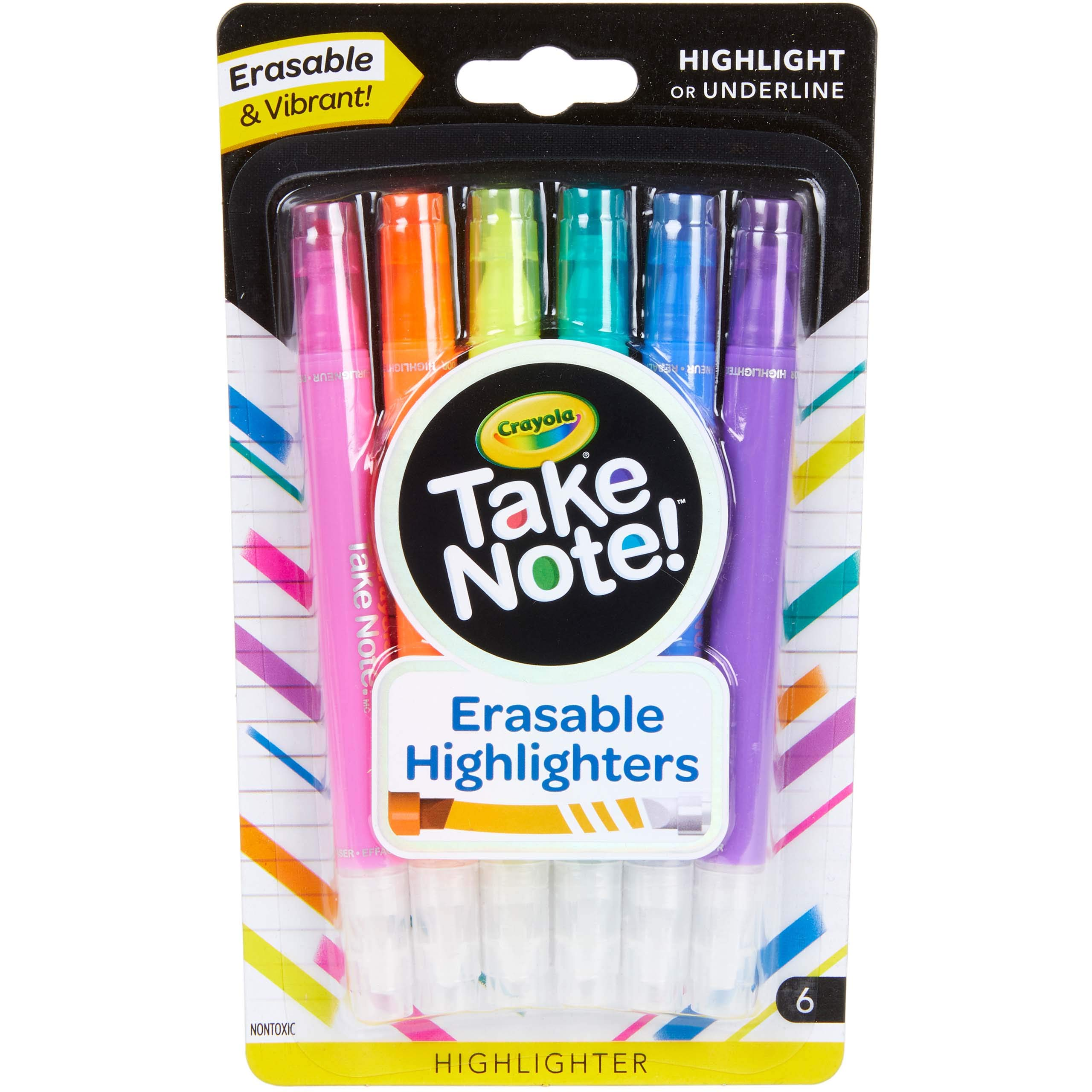 Crayola Take Note Chisel Tip Erasable Highlighters, Kids At Home Activities, 6 Count, Assorted