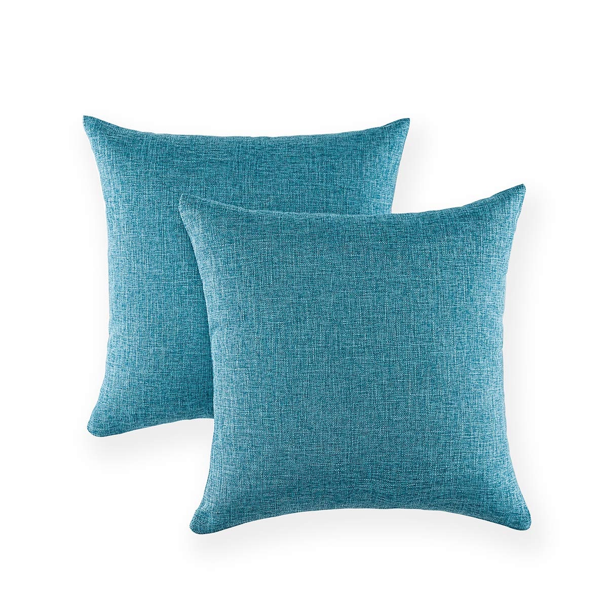 Xinrjojo Solid Color Decorative Cotton Linen Throw Pillow Case Cushion Cover Pillowcase for Couch Sofa Bed, 18 x 18 Inches, Set of 2- Navy