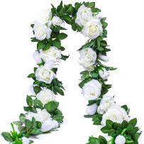 PARTY JOY 6.5Ft Artificial Rose Vine Silk Flower Garland Hanging Baskets Plants Home Outdoor Wedding Arch Garden Wall Decor,2PCS (White)