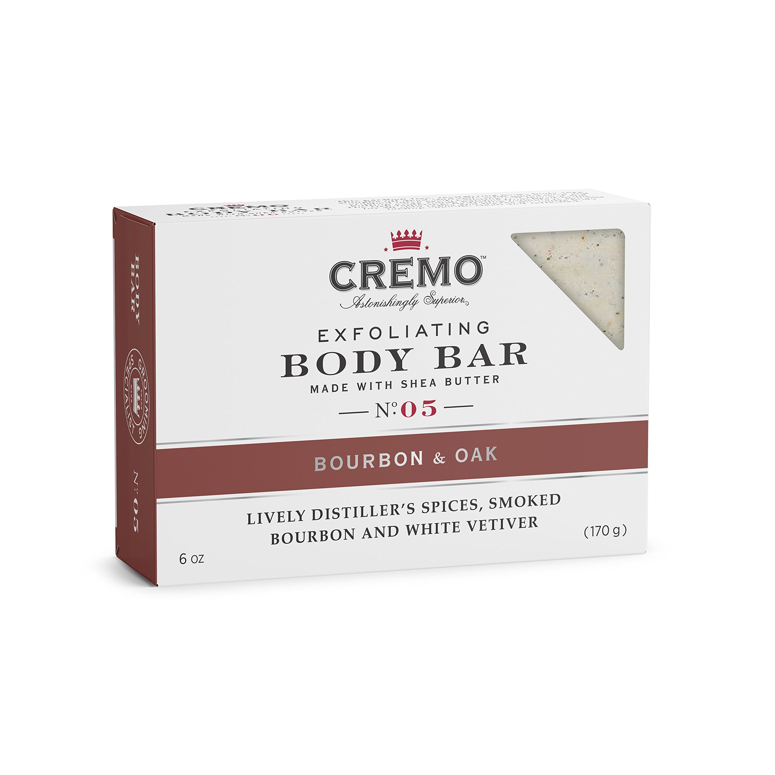 Cremo Exfoliating Body Bar With Shea Butter - Bourbon & Oak, 6 ounce