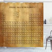 """Ambesonne Science Shower Curtain, Elements Chemistry Table Vintage Old Design for Scientists Student Print, Cloth Fabric Bathroom Decor Set with Hooks, 70"""" Long, Sand Brown"""