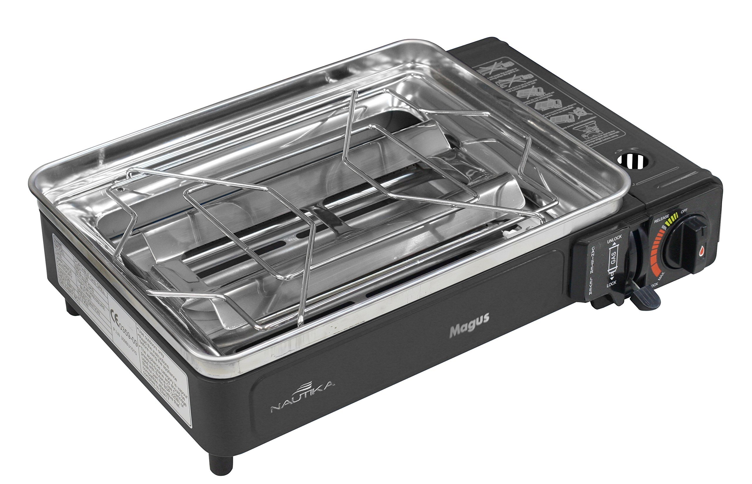 NTK MAGUS, Butane Grill Stove, BBQ Crate, Non-Stick Griddle, 4 Scewers and Pan Base.  Automatic Piezo Starter Gas Not Included