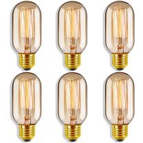 Edison Bulb Vintage Light Bulbs 40 Watt Antique Edison Light Bulbs E26/E27 Base Dimmable T45 Edison Tubular Style Incandescent Bulb for Home Light Fixtures, Hotel, Coffee Shop