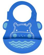 Baby and Toddler Bib, Food Grade Silicone, Easy Clean Up, Blue Hippo by Marcus & Marcus
