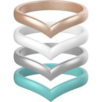 ThunderFit Thin Heart Shaped Silicone Wedding Rings for Women - 8 Rings / 4 Rings / 1 Ring - Stackable Rubber Engagement Bands - Width 2.7mm - Thickness 2mm