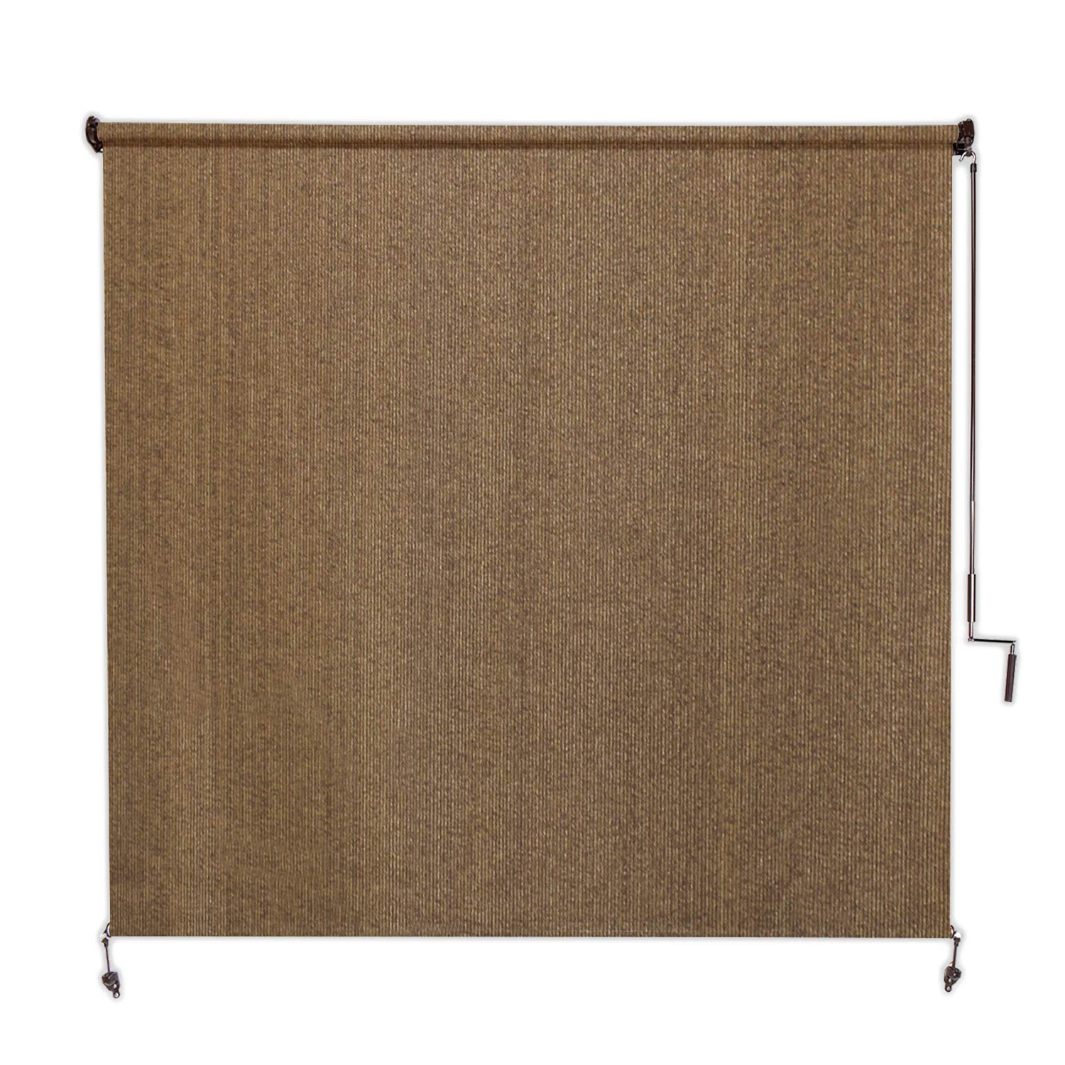 Coolaroo Exterior Roller Shade, Cordless Roller Shade with 95% UV Protection, No Valance, (8' W X 8' L), Walnut