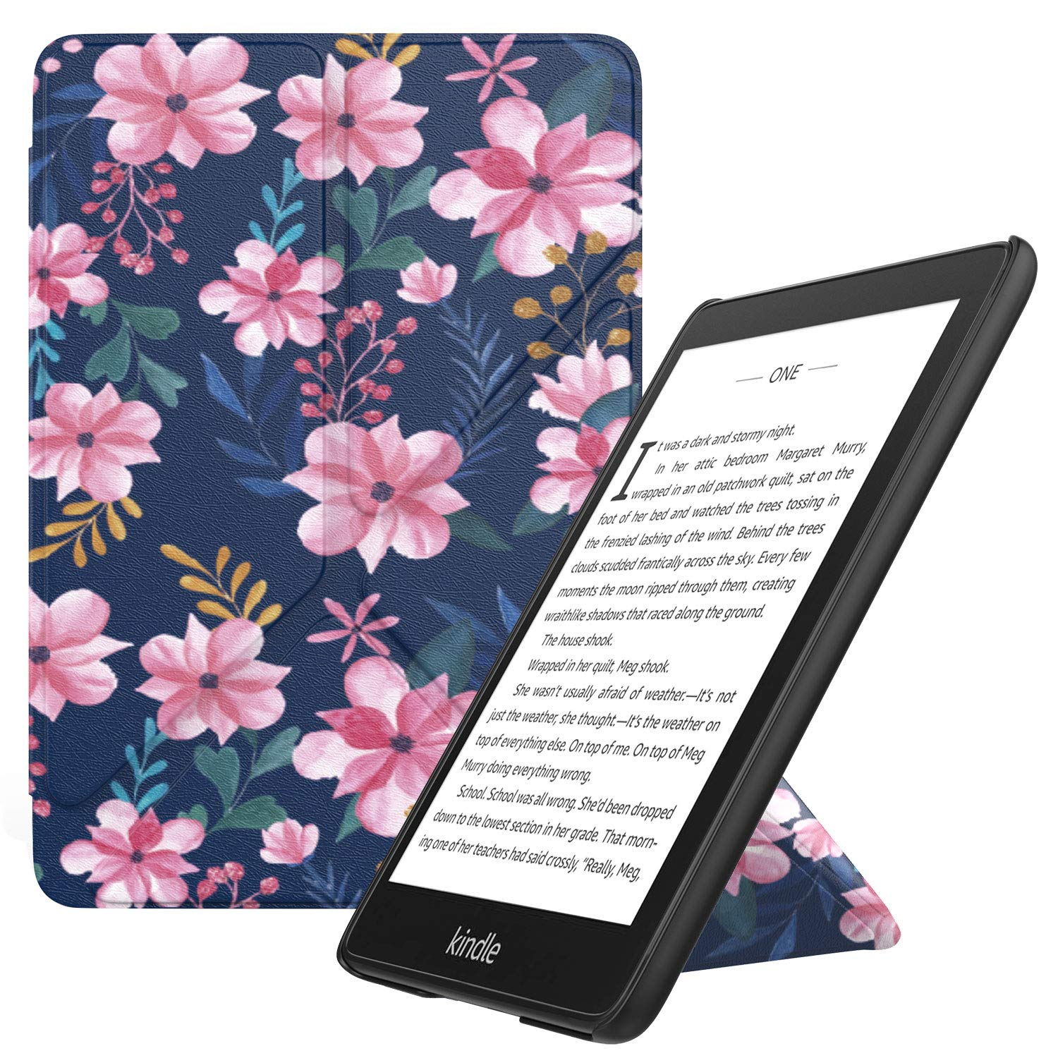 MoKo Case Replacement with Kindle Paperwhite (10th Generation, 2018 Releases), Standing Origami Slim Shell Cover with Auto Wake/Sleep Fits Kindle Paperwhite E-Reader - Blue & Pink Flower