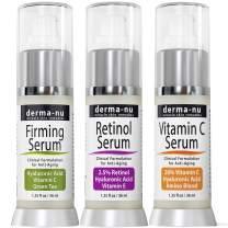 Anti-Aging Treatment Serum Trio - Hyaluronic Acid - Retinol Serum and Vitamin C - 3 Pack - Derma nu - 1.25 fl oz