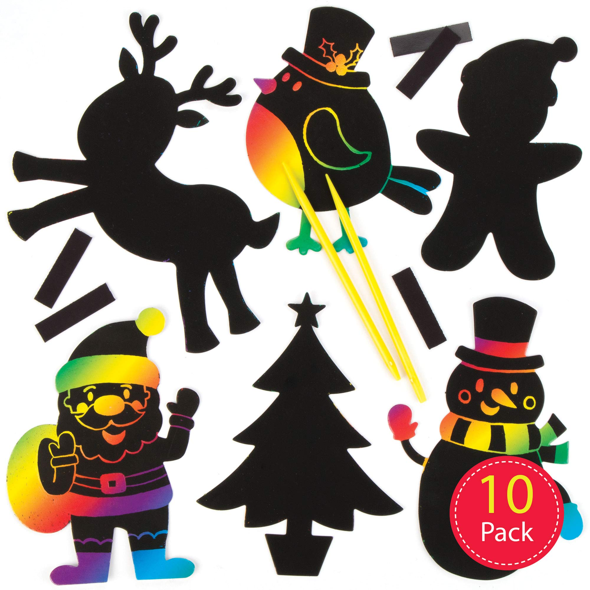 Baker Ross Christmas Scratch-Off Decoration Kits   Magic Scratch Wand   Kids Holiday Fun Arts & Crafts Project   No Glue or Scissors Needed   Pack of 10 Xmas Figures