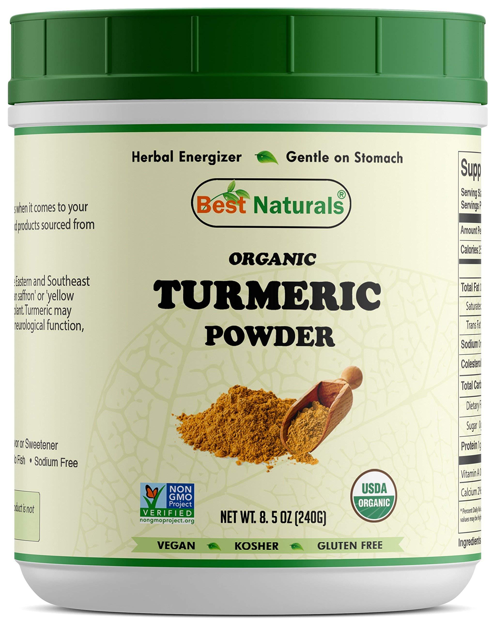 Best Naturals Certified Organic Turmeric Curcumin Powder 8.5 OZ (240 Gram), Non-GMO Project Verified & USDA Certified Organic