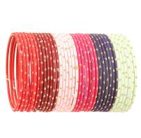 """Touchstone """"Colorful Bangle Collection Indian Bollywood Alloy Metal Rich Textured Matte Finish Colors Bracelets Bangle for Women."""