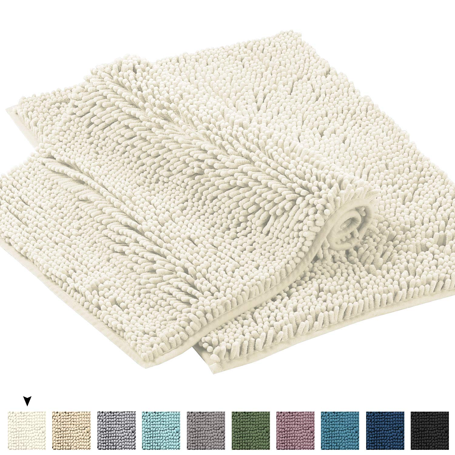 """Microfiber Bath Rugs Chenille Floor Mat Ultra Soft Washable Bathroom Dry Fast Water Absorbent Bedroom Area Rugs Kitchen Rugs Non Skid Dry Fast Machine Washable, Cream 17"""" x 24""""/17"""" x 24"""""""