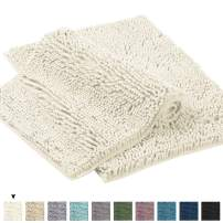 "Microfiber Bath Rugs Chenille Floor Mat Ultra Soft Washable Bathroom Dry Fast Water Absorbent Bedroom Area Rugs Kitchen Rugs Non Skid Dry Fast Machine Washable, Cream 17"" x 24""/17"" x 24"""