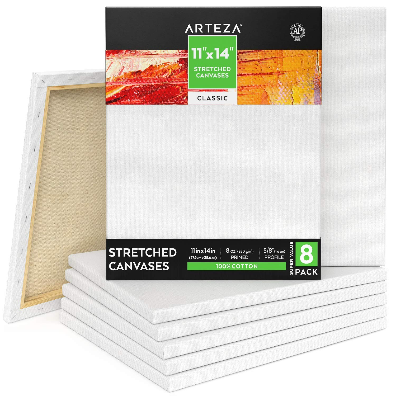"""Arteza Stretched Canvas 11x14"""" White Blank Bulk Pack of 8, Primed, 100% Cotton for Painting, Acrylic Pouring, Oil Paint & Wet Art Media"""