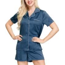 INK+IVY Womens Pajama Set | Silky Short Sleeve Sleepwear Soft Notch Collar Nightwear