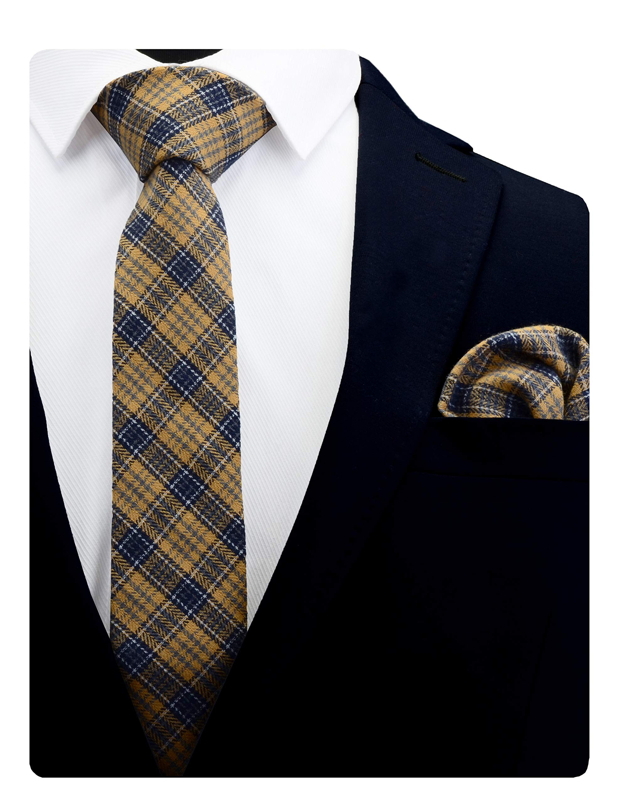 """GUSLESON Brand New 2.4""""(6cm)Cotton Plaid/Striped Necktie Cashmere Wool Skinny Tie and Pocket Square Sets + Gift Box"""