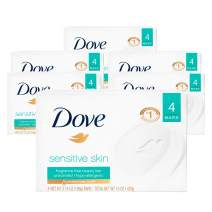 Dove Moisturizing Beauty Bar for Softer Skin, Fragrance-Free, Hypoallergenic Beauty Bar Sensitive Skin Effectively Washes Away Bacteria While Nourishing Your Skin 3.75 oz 4 Bars, Pack of 6