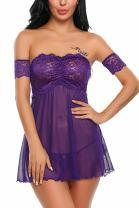 Avidlove Women Lace Babydoll Sleepwear Off Shoulder Lingerie Mesh Nightwear Outfits