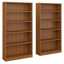 Bush Furniture Universal 5 Shelf Bookcase Set of 2 in Royal Oak