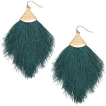 MIRMARU Fringe Tassel Silky Thread Dangle Drop Metal Hook Earrings-Drop Dangle Statement Earrings