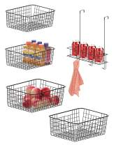 iSPECLE Wire Basket, Set of 4 Wire Storage Basket and Over The Door Organizer, Multipurpose Storage Baskets Organizer and Door Hanger with Basket and Hooks Saving Space for Kitchen