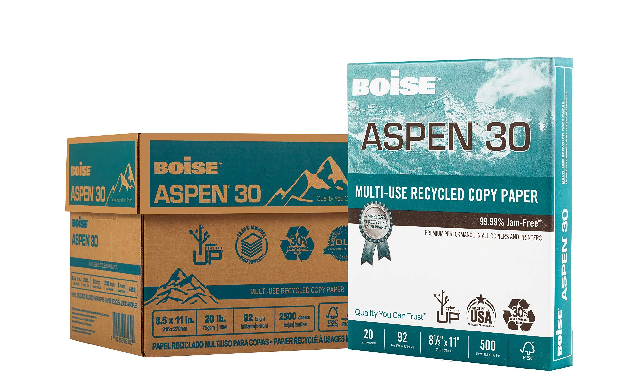 "BOISE ASPEN 30% Recycled Multi-Use Copy Paper, 8.5"" x 11"" Letter, 92 Bright White, 20 lb, 5 Ream Carton (2,500 Sheets)"