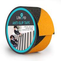 LifeGrip Anti Slip Traction Tape, 2 Inch x 15 Foot, Best Grip, Friction, Abrasive Adhesive for Stairs, Safety, Tread Step, Indoor, Outdoor, Caution Yellow/Black