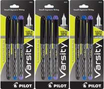 PILOT Varsity Disposable Fountain Pens, Medium Point Stainless Steel Nib, Black/Blue/Purple Inks, 3-Pack of 3 (90022)