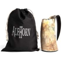 AleHorn Viking Drinking Horn - Genuine Ox Horn Tankard for Ale & Mead - Food-Grade Medieval Style Mug - Handcrafted Manly Beer Cup - Gift Idea for Anniversary, Birthday & Holidays - XL, Natural