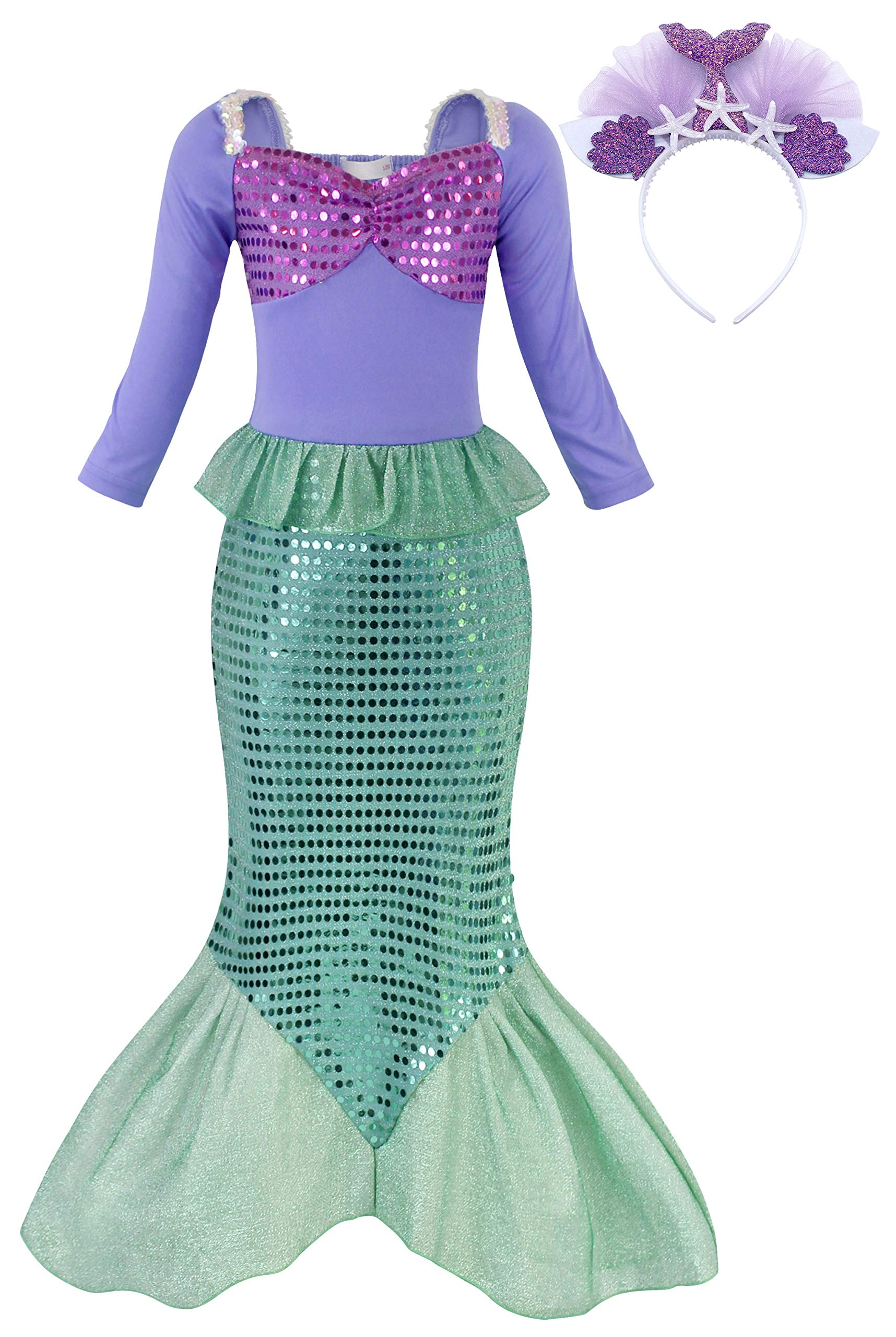 HenzWorld Little Girls Clothes Mermaid Tails Costume Dresses Princess Birthday Party Cosplay Accessories Headband Sequins