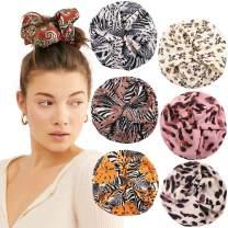 Oversized Satin Women Hair Scrunchies - 6Pcs Giant Hair Scrunchies Satin Scrunchy Hair Ties Bands Ropes Elastic Ponytail Holders for Women Girls (Printing #5)