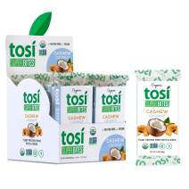 Tosi Organic SuperBites Vegan Snacks, Cashew Coconut, 2.4oz (Pack of 12), Gluten Free, Omega 3s, Plant Protein Bars with Flax and Chia Seeds