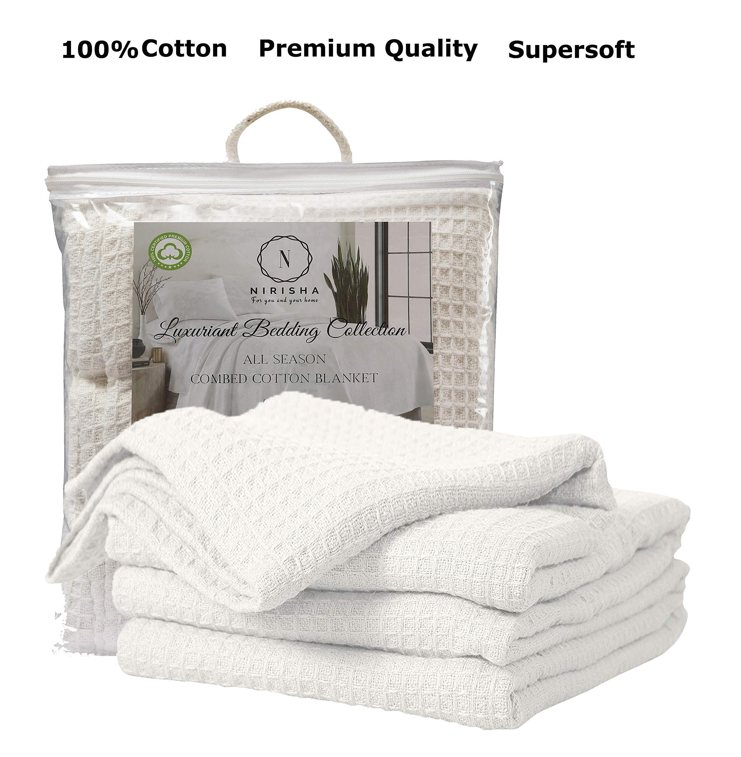 Nirisha Cotton Thermal Blanket– Waffle Weave – Queen Blanket – Lightweight Warm Soft & Cozy Cotton Blanket – Luxurious Breathable Blanket – Throw Blanket – All Season White Cotton Blanket