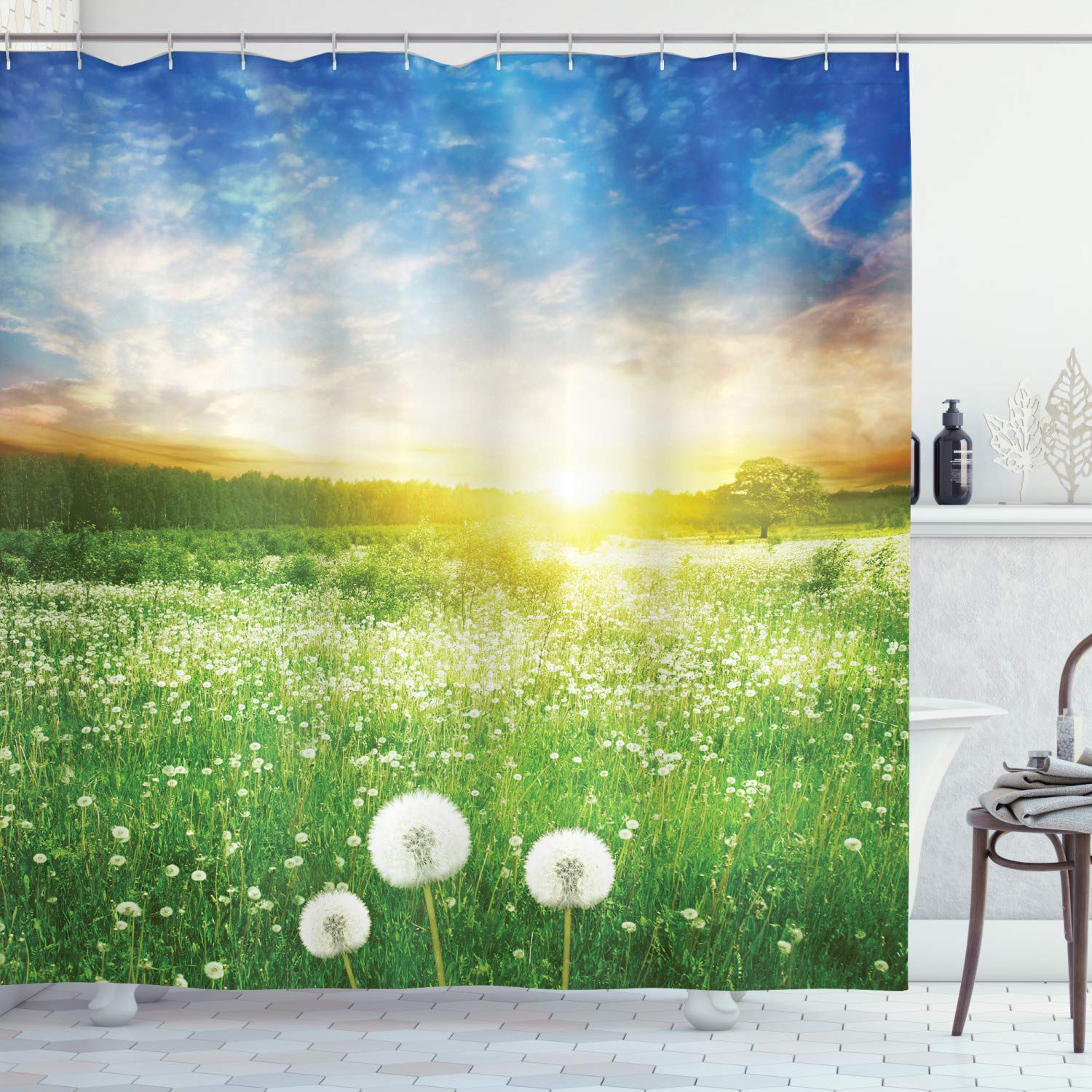 """Ambesonne Spring Shower Curtain, Dandelion Flower Field Meadow Rural Grass Vivid Sunset Clouds Idyllic Image, Cloth Fabric Bathroom Decor Set with Hooks, 75"""" Long, Lime Green"""