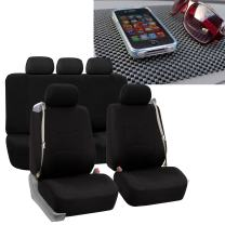FH Group FB351115 All-Purpose Built-in Seatbelt Seat Covers (Black) Full Set with Gift – Universal Fit for Cars Trucks & SUVs