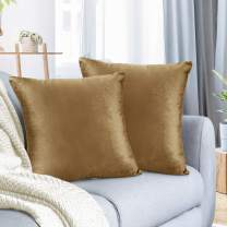 """Nestl Bedding Throw Pillow Cover 26"""" x 26"""" Soft Square Decorative Throw Pillow Covers Cozy Velvet Cushion Case for Sofa Couch Bedroom, Set of 2, Mocha Light Brown"""