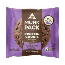Munk Pack Double Dark Chocolate Protein Cookie with 16 Grams of Protein | Soft Baked | Vegan | Gluten, Dairy and Soy Free | 6 Pack